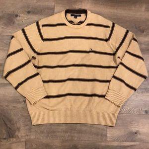 Tommy Hilfiger Sweater Size Large Tan Striped